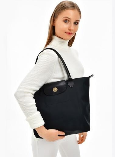 TH Bags TH Bags 40 x 30 x 15 cm Fermuarlı Poliüretan Kadın Çanta Siyah